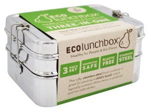 ECOlunchbox Three-in-One Stainless Steel Food Container Set - Lunch boxes for men