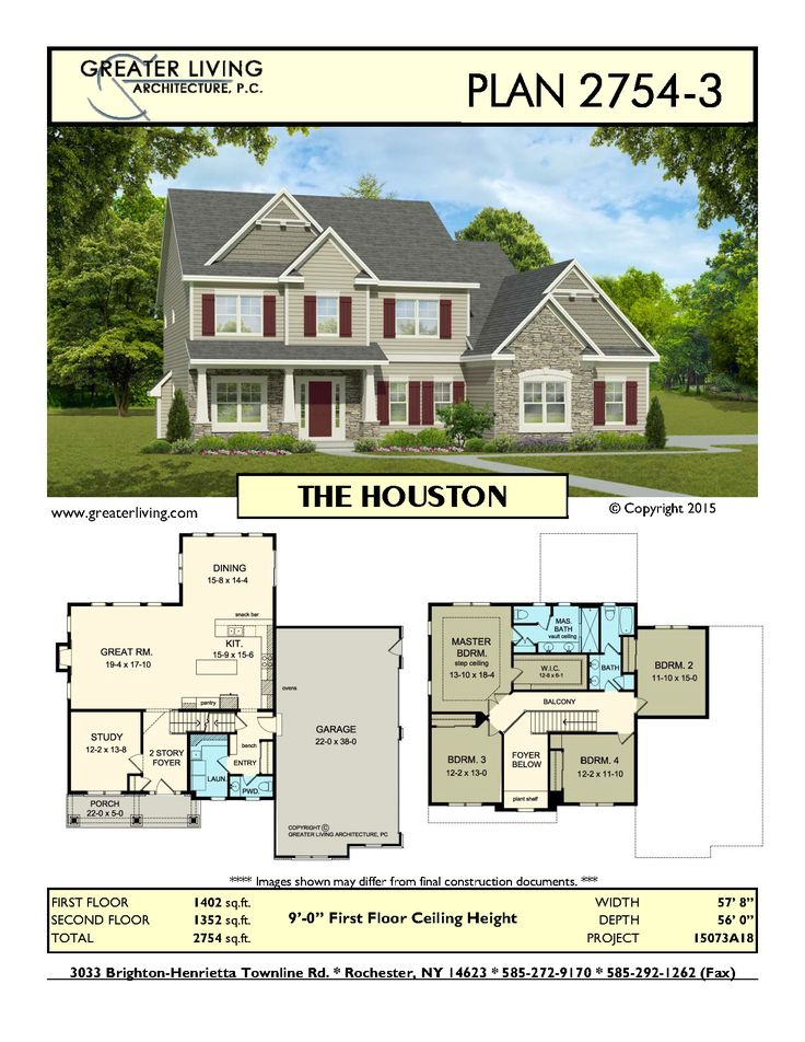 Plan 2754-3: THE HOUSTON - House Plans - Two Story House Plans -