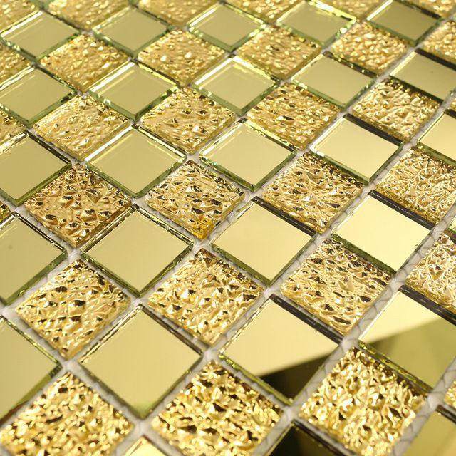 2016 espejo en línea de baño de azulejos azulejos de oro del centelleo Crackle mosaico baño cocina de diseño salpicaduras de azulejos cristal