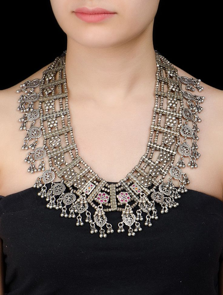 Buy Multicolor Tribal Silver Necklace Glass Cotton Thread Jewelry Trinkets Antique Inspired Online at Jaypore.com