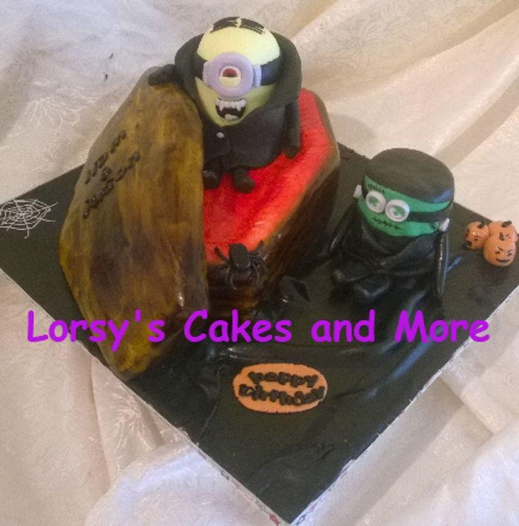 Vampire & Frankenstein Minion Coffin Cake