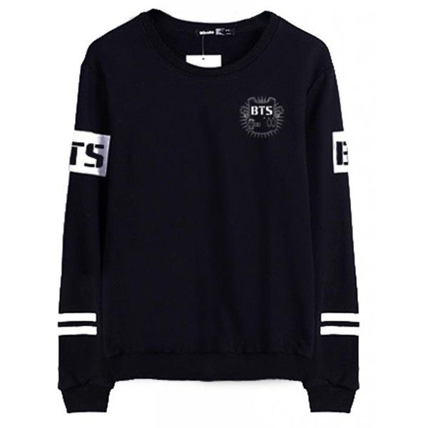 BTS Bangtan Boys Black Hoody Sweater Pullover Shirt ($21) ❤ liked on Polyvore featuring bts, tops and sweaters