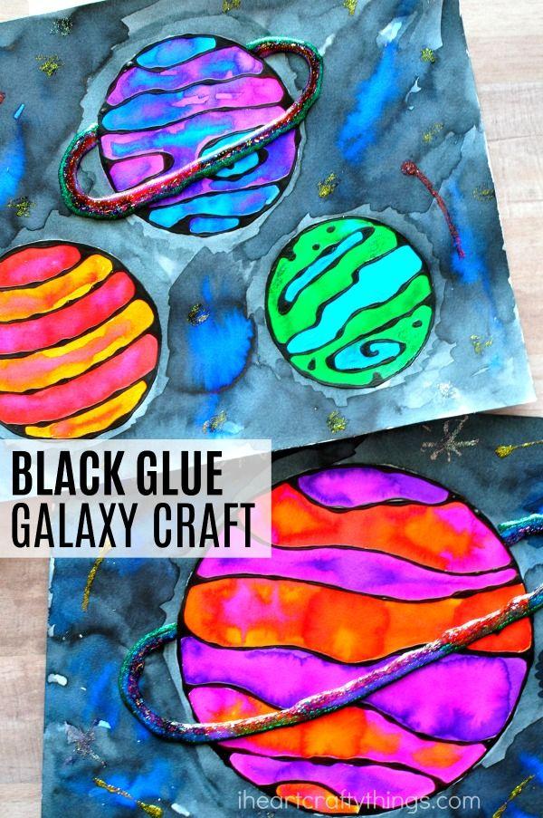 Back glue galaxy craft from I Heart Crafty Things