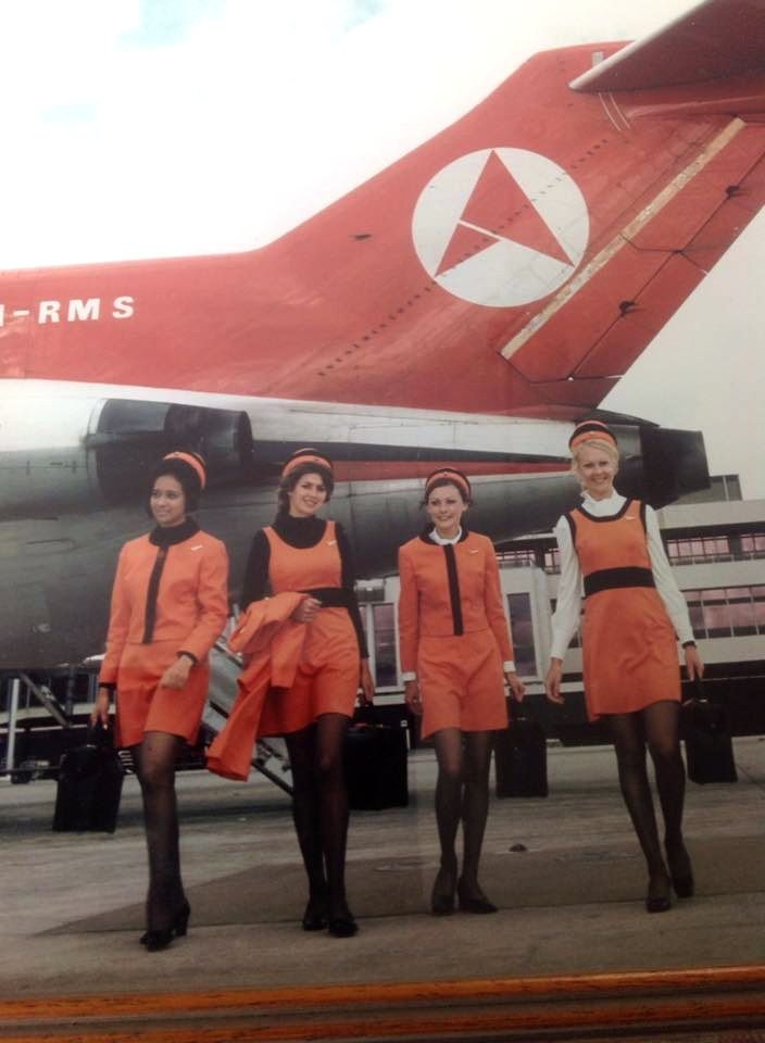 Jenny Charles, 2nd from right Ansett Airline of Australia 1972 Melbourne Airport publicity shoot photo.