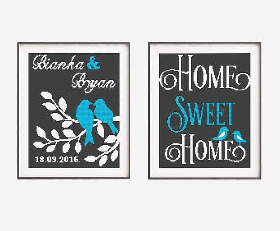 2 in 1 Set Wedding Cross Stitch Printable PDF Pattern