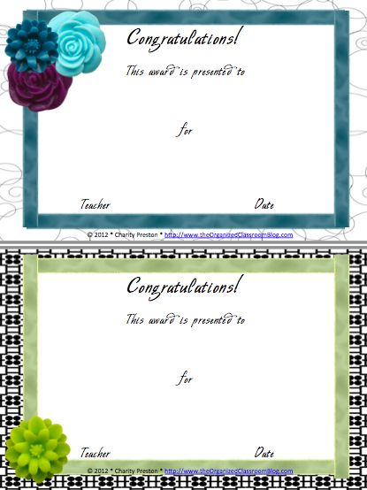 77 best SLP Certificate Freebies images on Pinterest English - award templates for word