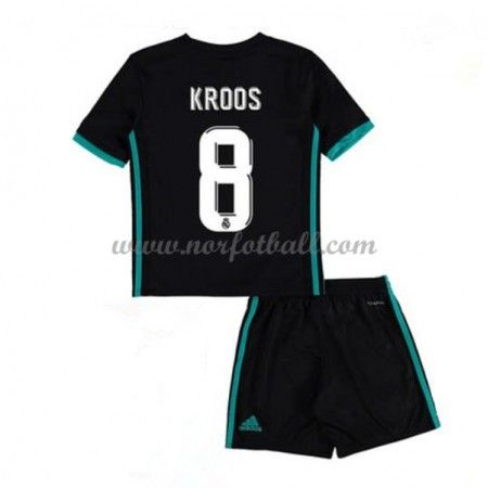 Billige Fotballdrakter Real Madrid Barn 2017-18 Toni Kroos 8 Borte Draktsett Fotball Kortermet