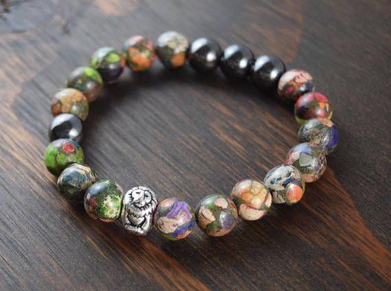 Men's Mardi Gras Jasper Bracelet. Men's Beaded Bracelet. Lion Bracelet. Men's Fashion Bracelet. Men's Gift. Lotus and Lava Bracelet.