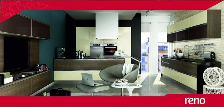 Modelo Zen, combinando terminaciones en PVC en color Marfil alto Brillo con carvalho aserrado.