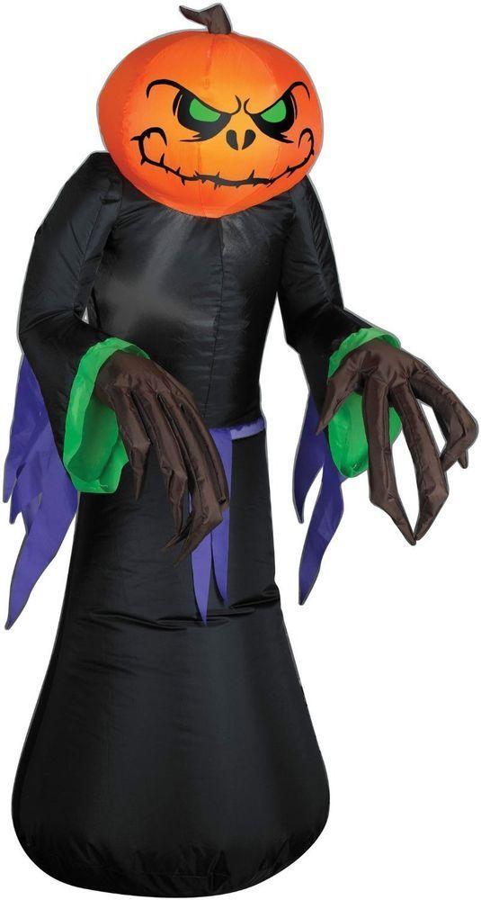 Pumpkin Reaper Inflatable Halloween Spooky Airblown Yard  Lighted Decoration  #Gemmy