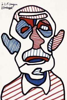 #JeanDubuffet, Autoportrait V, 1966, Dédicacé à Jean-François Jaeger Courtésie Galerie Jaeger Bucher / Jeanne-Bucher