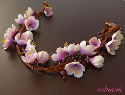 """""""Весна"""" - браслет,сакура,цветы,,розовый,полимерная глина,термопластика"""