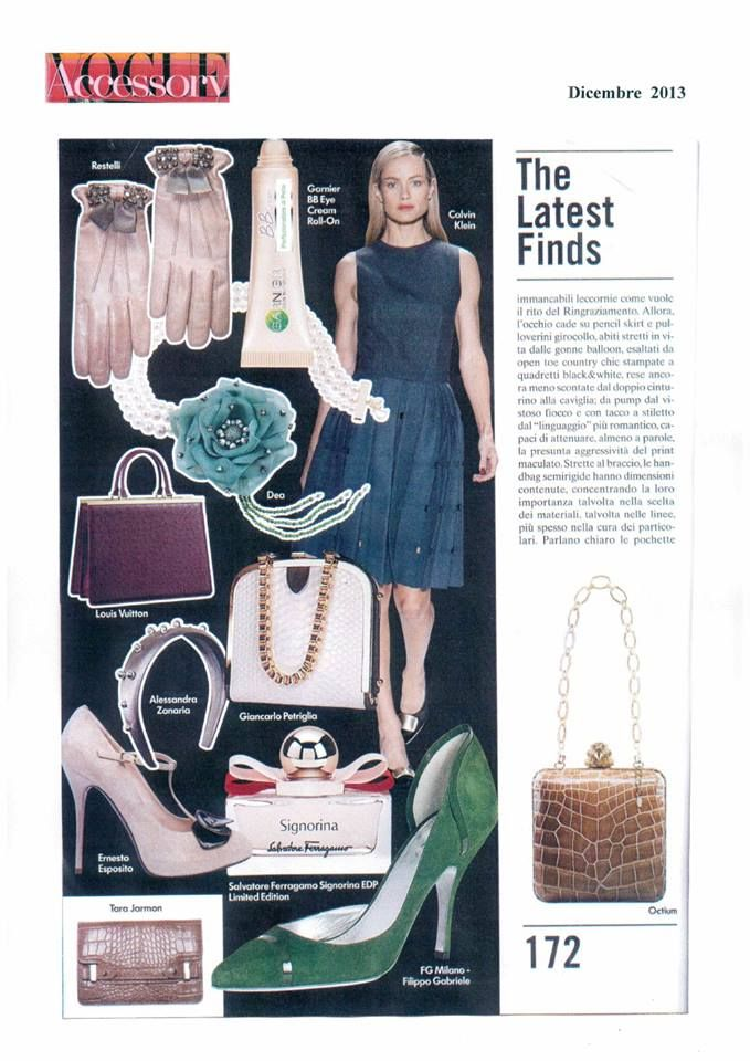 """Our model """"Isa"""" green on Vogue Accessory … page 172 !!!"""