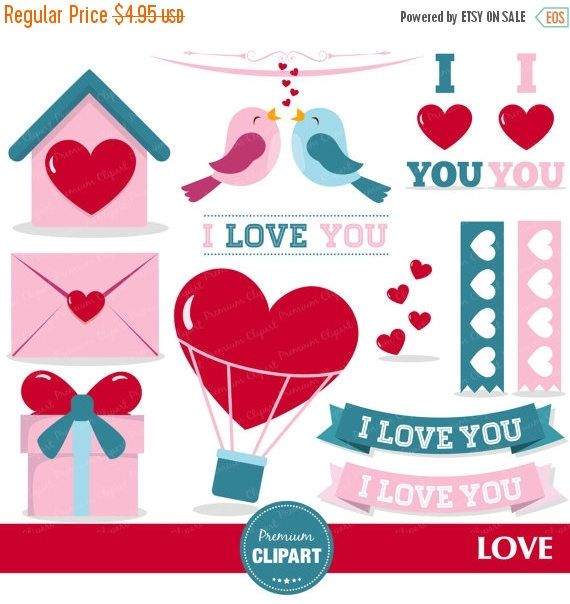 80% OFF SALE Love birds clipart, Valentines day clipart, Valentine clipart, Heart clipart, Bird clipart, Love letter - CA363 by PremiumClipart on Etsy