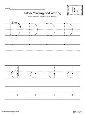 Letter D Tracing and Writing Printable Worksheet Worksheet.Practice tracing and writing the uppercase and lowercase letter D in this printable worksheet.