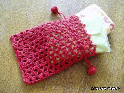 【編み図】ちっちゃなリボンの巾着ポーチ