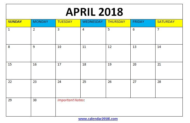 April 2018 Calendar Word Template Maxcalendars Pinterest