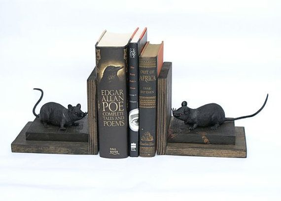 Hey, I found this really awesome Etsy listing at https://www.etsy.com/listing/192744657/rat-bookends-black-rats-wood-wooden-book