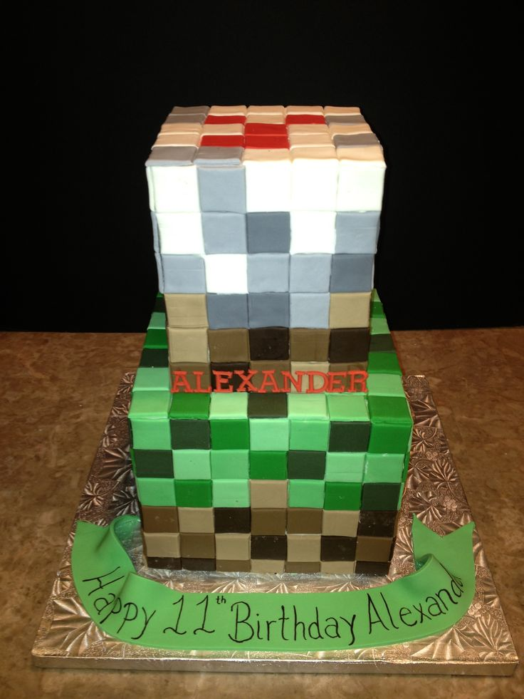 Minecraft Cake Birthday Party Ideas Pinterest
