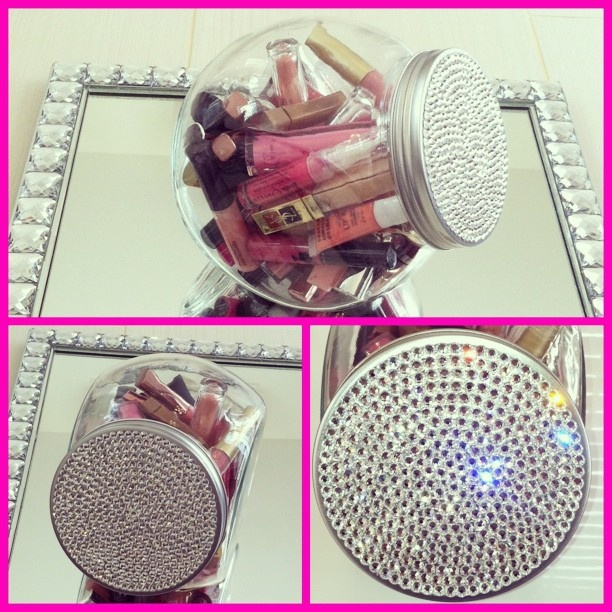 """Pretty blinged out """"candy jar"""" holding my idea of candy, lots of pretty lip glosses!"""