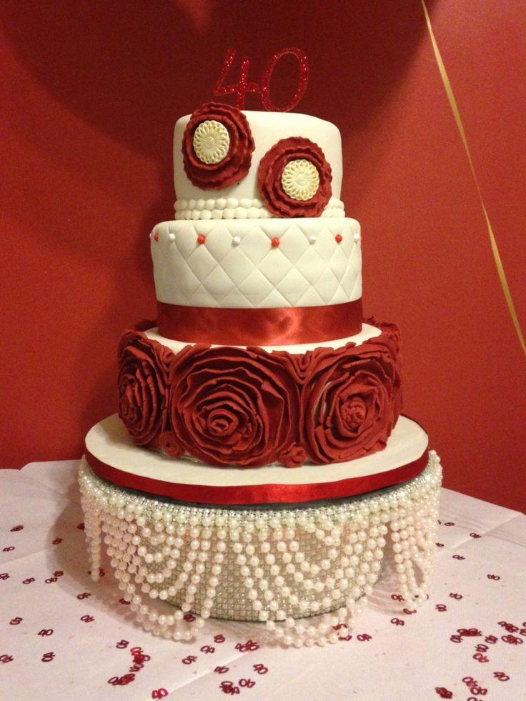 Ruby Wedding Anniversary Cake With Flower Ruffles