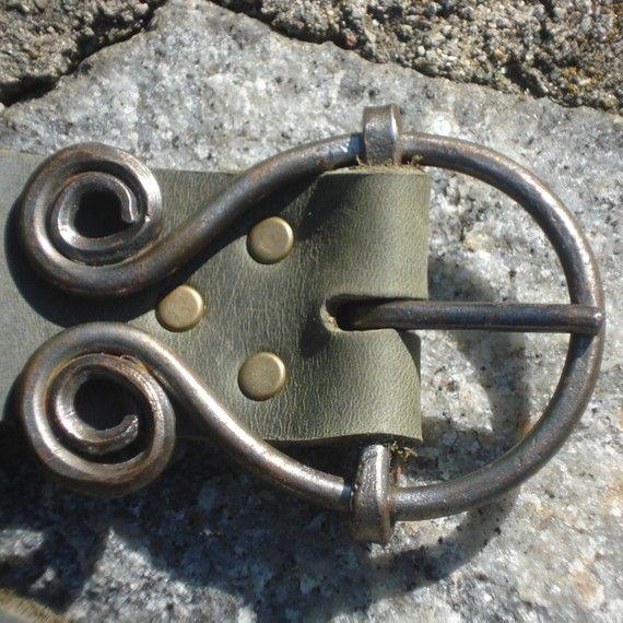 Custom leather belt with blacksmith made buckle