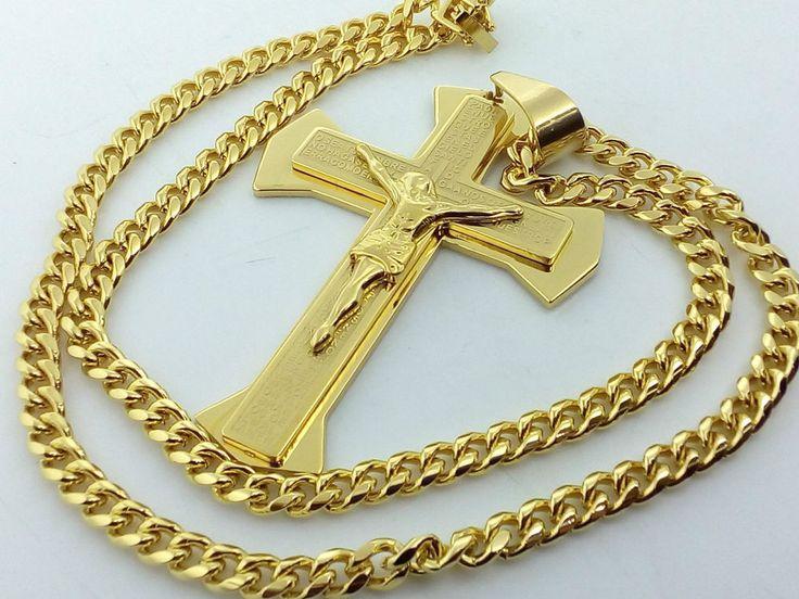 Collana Ciondolo Croce Oro Unisex Uomo Donna Crocifisso con cristo Catena Rap