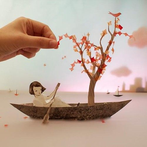 Japanese Paper Art. Possible paper landscapes for stop motion film.