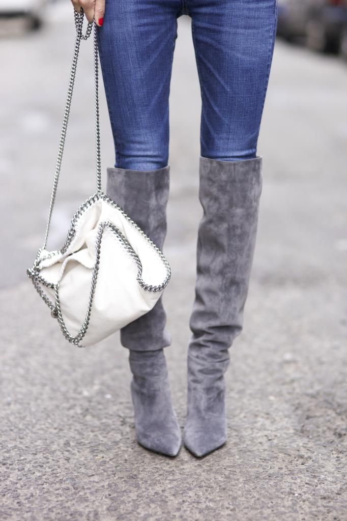 Grey Suede Boots: Gianvito Rossi | Jeans: J BRAND | Bag: Stella McCartney http://FashionCognoscente.Blogspot.com