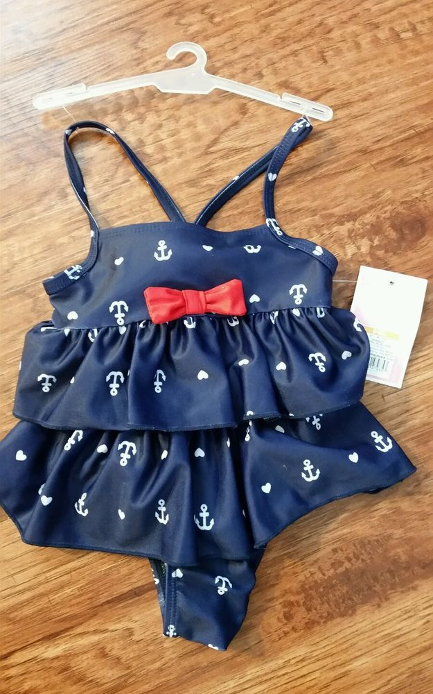 Baby girl swimsuit 6-9 months anchors hearts rockabilly baby NWT #Circo