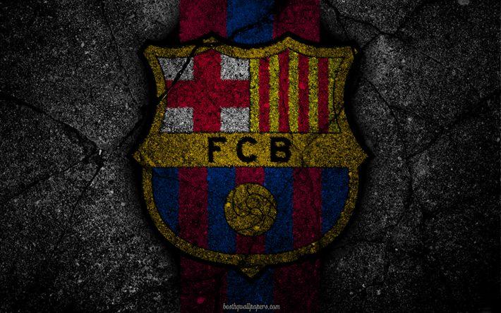 Herunterladen hintergrundbild barcelona-logo, fcb, la liga, fußball, fußball club, laliga, grunge, fc barcelona