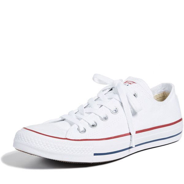 Converse Chuck Taylor All Star Sneakers ($56) ❤ liked on Polyvore featuring shoes, sneakers, optical white, striped sneakers, star sneakers, converse shoes, white trainers and low top