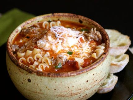 Crock Pot Ground Beef Lasagna Soup - Easy and has the same great taste as a baked Lasagna.  www.getcrocked.com