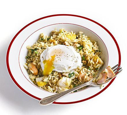 Kedgeree with poached egg. This curried fish and rice dish is suitable for brunch, breakfast or a main course at dinnertime. Replace traditional boiled eggs with poached