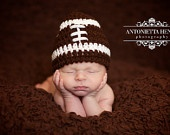 White Striped Crochet Football Hat: Newborn, Toddler, Child Sizes, Baby Boy or Girl Brown & White Photography Prop, NFL or Team Colors avail. $14.00, via Etsy.