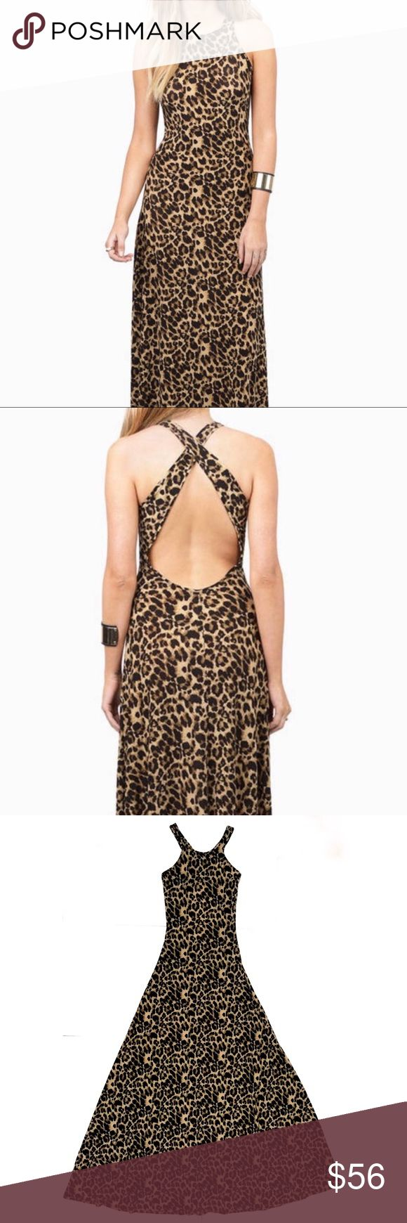 """Tobi Cheetah / Animal Print Crisscross Maxi Dress Cheetah print maxi dress by Tobi. This dress has great slinky, medium weight fabric that flares out at the bottom. Has awesome movement and is soft & comfy. Looks amazing on!  •Never worn, new •95% poly, 5% spandex •Size XS •Length is 62""""  🎁30% off bundles of 2+! ♥️Find designer items in my closet Tobi Dresses Maxi"""