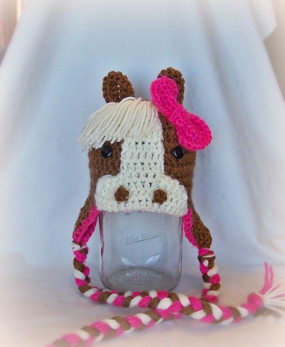 Crochet Horse Hat, Pony Cap, Crochet Animal Hat, Warm Hat, Newborn to ...