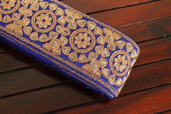 Floral Leafy Vine Design Blue Ribbon-Silk by ArtsyCraftsyShoppe