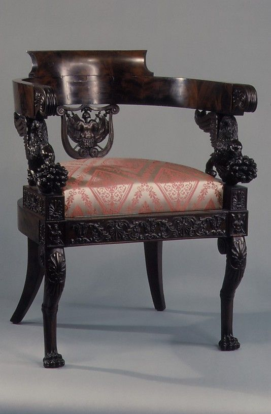Worthy of Display at The Metropolitan Museum of Art  This Armchair from Italy of Walnut with Mahogany Veneer is Wonderfully Detailed Top to Bottom, ca.1830.