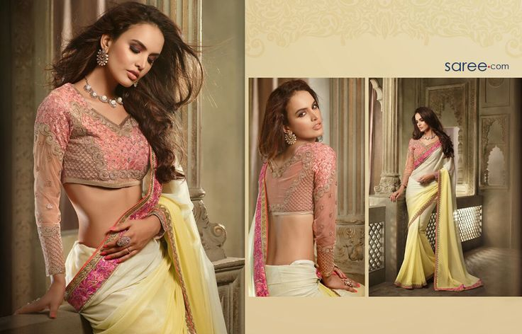YELLOW AND CREAM SHIMMER GEORGETTE SAREE WITH LACE WORK