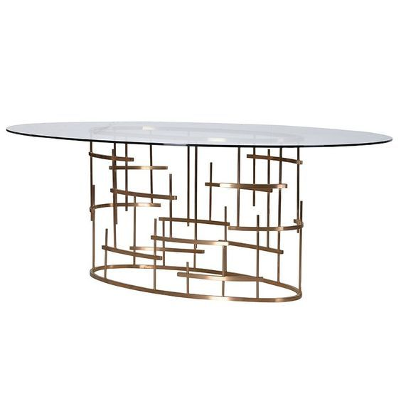Oval Dining Table in Gold