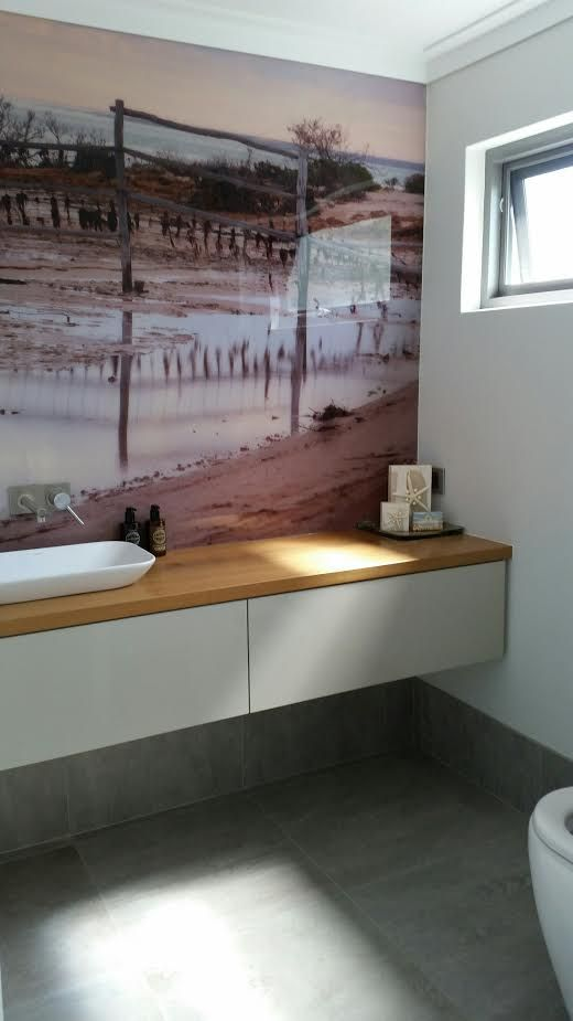 #Printed #acrylic #splashbacks in custom #image for this #Perth clients #ensuite #bathroom. What a stunning #featurewall using a clients own image!