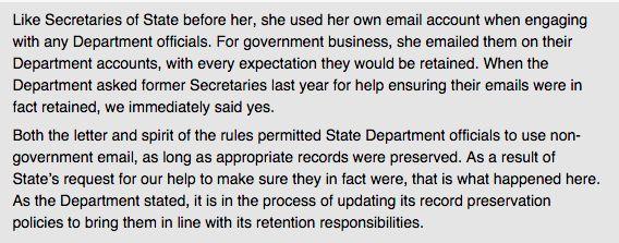 """""""Hillary Clinton spokesperson releases fuller statement on use of private email address (via @Mediaite, @samsteinhp)"""""""