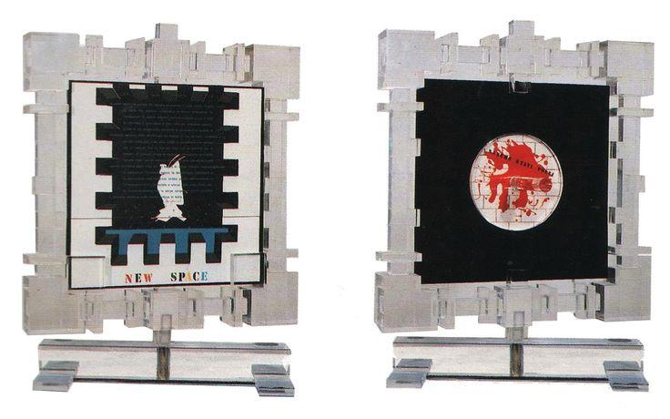 """""""Duble face"""" Plexiglass, cm 52x43x5,5, 1984 con intervento di Eugenio Miccini """"Saremo stati Poeti"""" e """"Flusso di coscienza"""" di Dino Pasquali. Archivio Carlo Palli"""