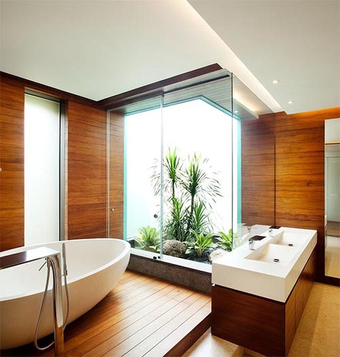 Interior, Remarkable Design Interior Of House: Fresh Wooden Bathroom Design