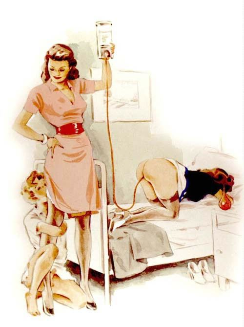 drawings of boys being given enemas by girls