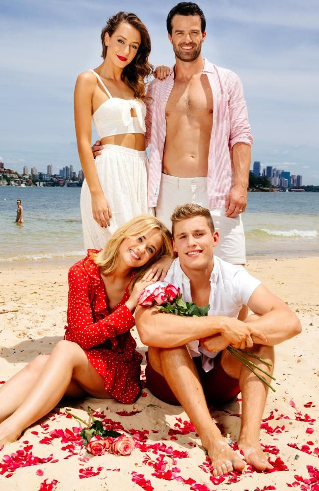 Home & Away on-screen couple Raechelle Banno and Scott Lee with fellow cast members Isabella Giovinazzo and Charlie Clausen at Milk Beach, Vaucluse