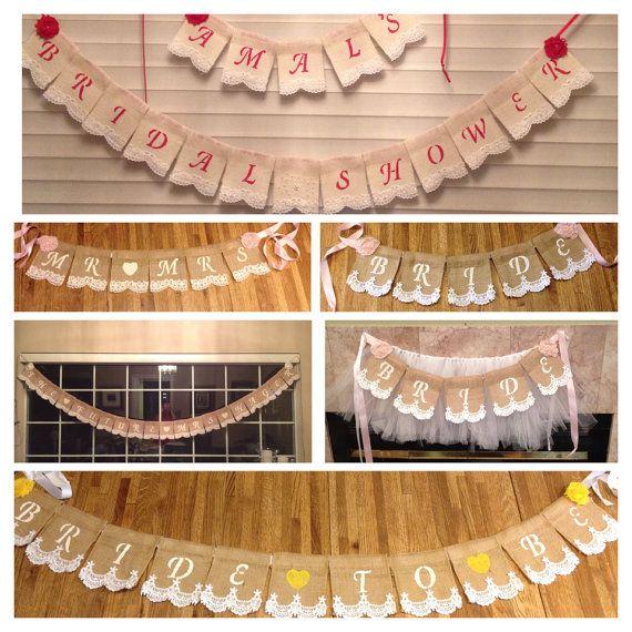 Bebé foto Prop arpillera encaje Banners por StacyLavelleDesigns