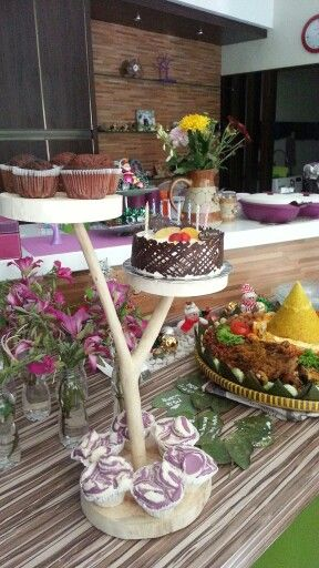 Birthday cake with nasi tumpeng