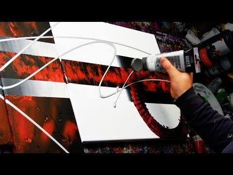 Abstract painting demo with knife, brush, tape – Neuroids – John Beckley – YouTube